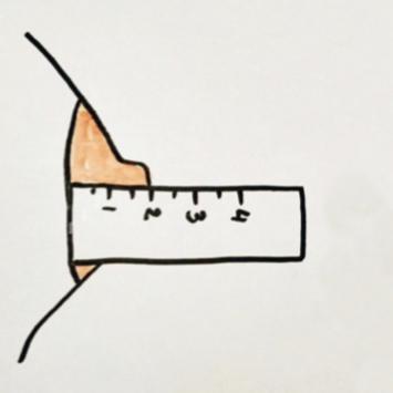 hauteur du bout de sein pour le choix d'une paire de coquillages d'allaitement dur mesures