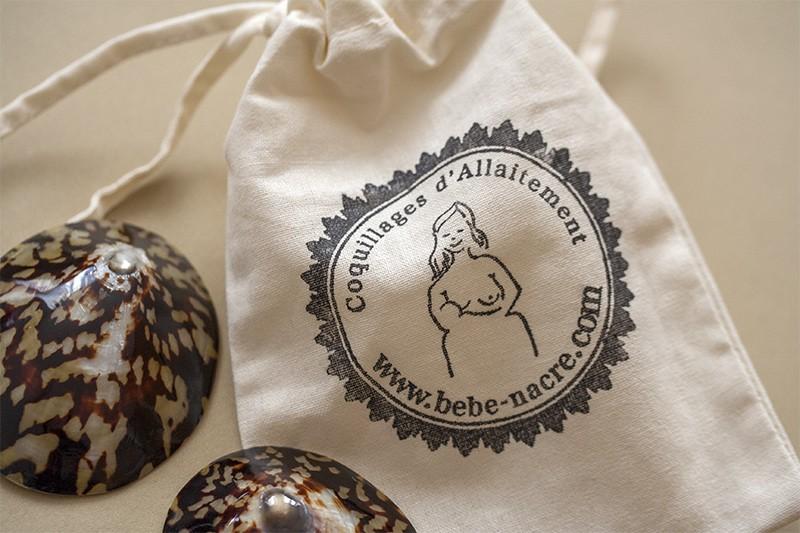coquillages d'allaitement petit sac allaitement bebe nacre crevasses